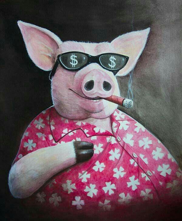 бесконтактная, свинка с сигаретой картинки время