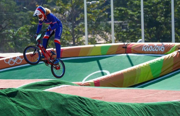 Manon Valentino of France competes during individual seeding in the Rio 2016 Summer Olympic Games at Olympic BMX Centre.