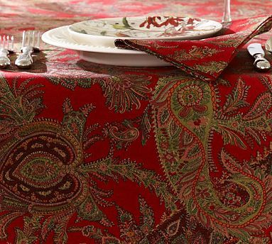 Caroline Paisley Tablecloth Potterybarn Holiday