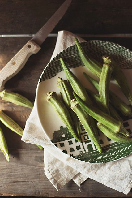 Okra, one of those foods I had growing up. If you cut it into strips, dip it in egg, then in a mixture of breadcrumbs & paprika (and a little salt & pepper), then bake it at 400 for about 15 minutes, you get a delightfully crunchy snack.