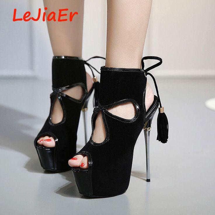 На платформе женские летние обувь на шнуровке сандалии на высоких каблуках 16 см ну вечеринку для женщин сандалии сексуальные туфли на высоком каблуке кисточкой сандалии D598