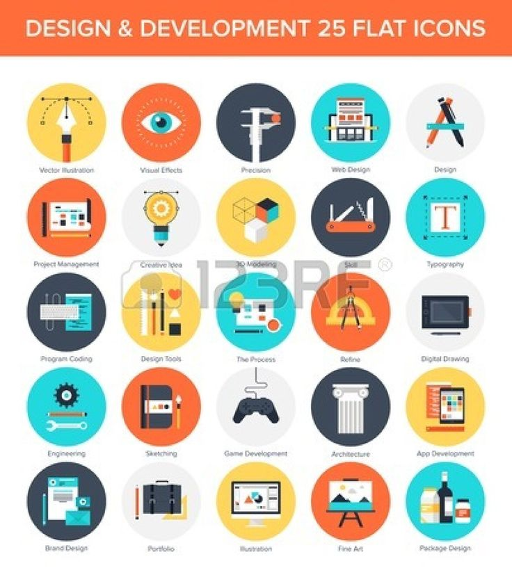 Abstract vector set of colorful flat design and development icons. Design elements for mobile and web applications. #design #development #icons #flat #vector #colorful #business
