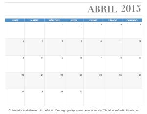 Calendarios imprimibles 2015: descarga e imprime gratis: Calendario Abril 2015