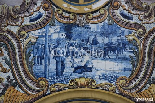 "Download the royalty-free photo ""Detail of a tiles panel, market building, Santarém, Portugal"" created by Ciaobucarest at the lowest price on Fotolia.com. Browse our cheap image bank online to find the perfect stock photo for your marketing projects!"
