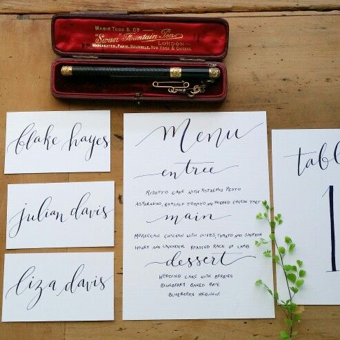 Navy ink on bright white - Floralovely Calligraphy