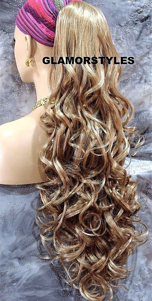 Ash Blonde Long Layered Wavy Ponytail Hair Piece Extension Claw Clip in/on NWT #Glamorstyles #HairExtension