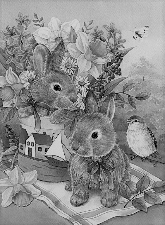 Bunnies On A Blanket Grey Scale Grayscale Coloring Fairy Coloring Pages Grayscale Art