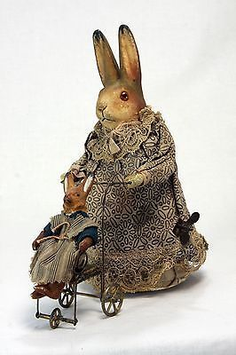 Antique German Mechanical Wind Up Rabbit Pushing Carriage c1910