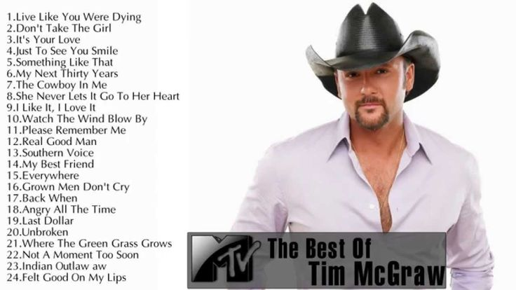 The Best Of Tim McGraw ||Tim McGraw's Greatest Hits Update 2014 00:00 Live Like You Were Dying - Tim McGraw 4:58 Don't Take The Girl - Tim McGraw 9:08 It's Y...
