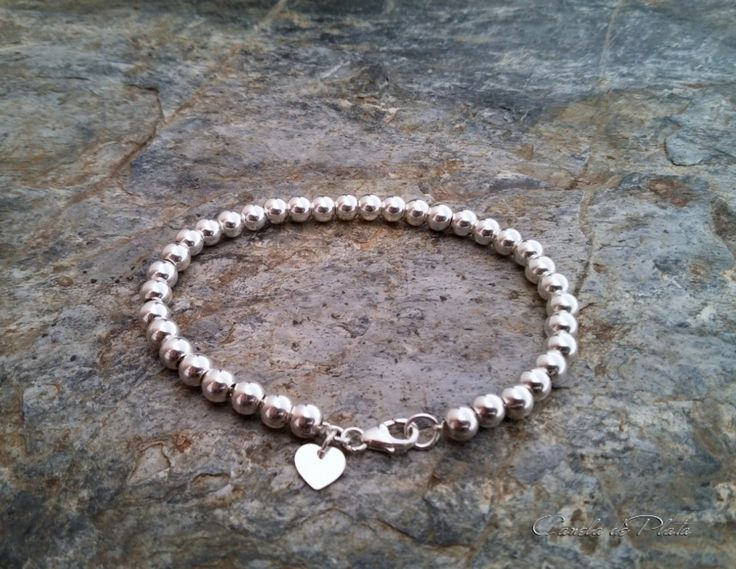 Sterling silver beads 5 mm. bracelet