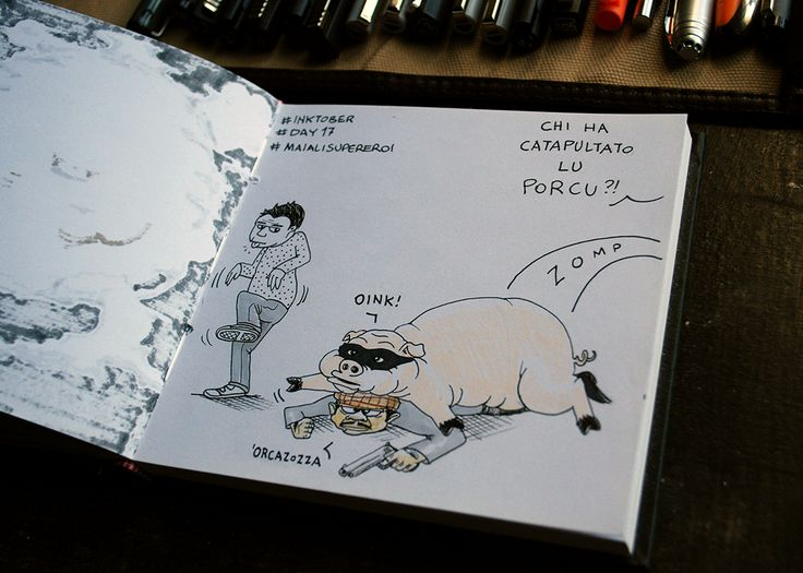 day 17 tema: maiali supereroi #inktober #inktober2015 #day17 #sketchbook #illustration #illustrazione #massoneriacreativa #ink #pig #hero #maiale
