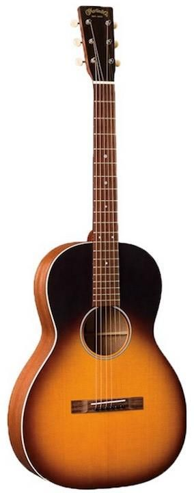 "Martin 00-17S Whiskey Sunset. This small bodied guitar follows Martin's ""Grand Concert"" shape, which together with the stripped down look and the Whiskey Sunset finish, give the 00-17S an old school depression era parlor guitar appeal."