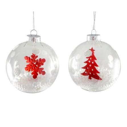 White Set of Two Snowball Baubles   Dunelm