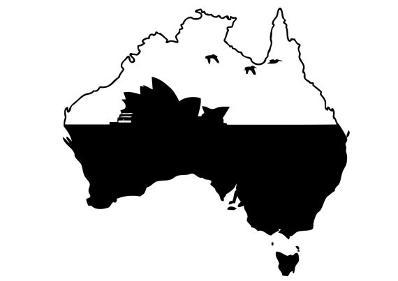 Australia Map Decal, With Sydney Opera House Design Vinyl Decal - Wall Art - Wall Decoration - Wall Decal
