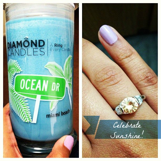 Miami Beach Diamond Soy Candle with hidden ring inside. It smells like a fun coconut.
