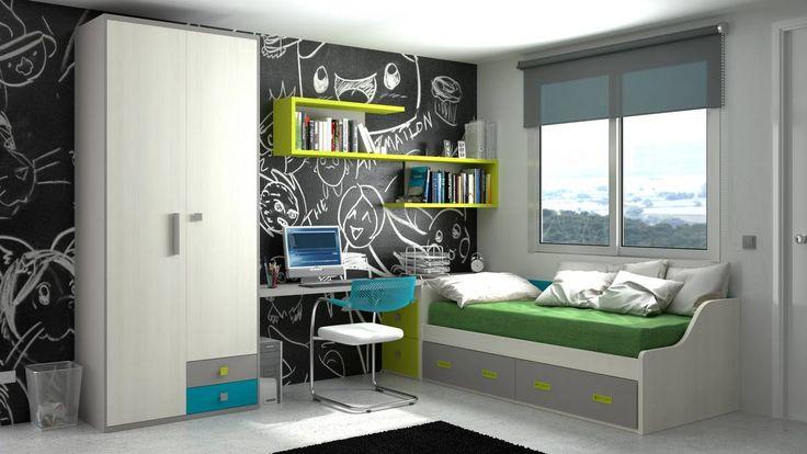 62 best habitaciones juveniles images on pinterest for Cama nido con escritorio