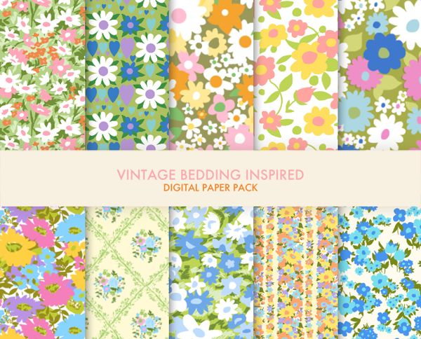 I love collecting vintage bedding fabric, but it always breaks my heart to use it in sewing projects because it's so precious. Those patterns and colors.. they just don't make things like that anymore! Well, until now. Presenting -- the vintage bedding paper pack!  This pack includes 10 differe...
