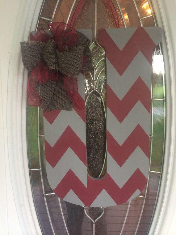 """U 18"""" Custom Chevron Monogram Initial Wood Door hanger or Wall Hanger doorhanger"""