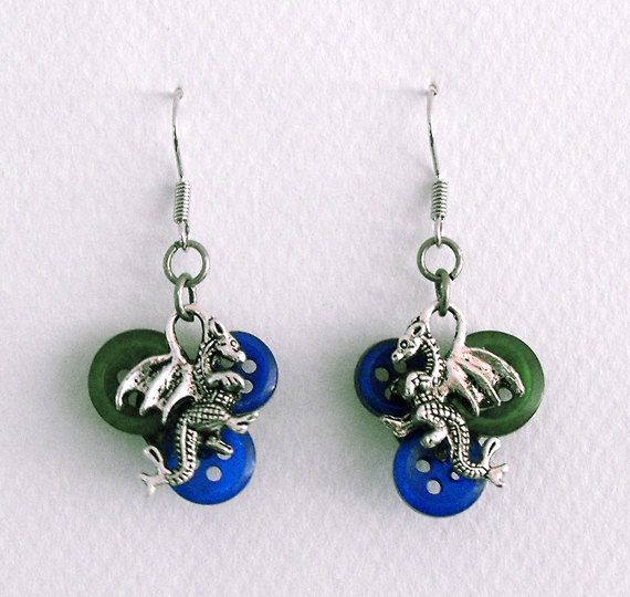 Dragon charm and button dangle earrings  by DemelzaGraceDesign, $18.00