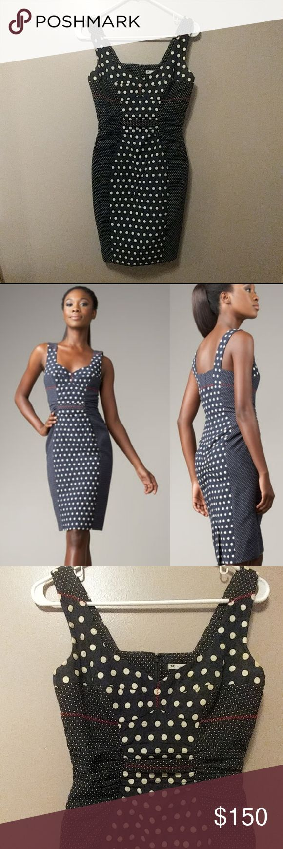 Anthro Yoana Baraschi St Tropez pinup style dress Yoana Baraschi St Tropez pinup style dress. Knockout details on this gorgeous and rare beauty  Navy with polka dots and red zigzag accent stitching. Sweetheart neckline with seamed bust and wide shoulder straps Contrast band at natural waist. Panel design for slimming effect. Pencil skirt and back kick pleat Euc, gently worn with very slight signs of wear on embroirdered polka dots.  Size 0 15 inches at bust 13 inches at waist 17 inches at…
