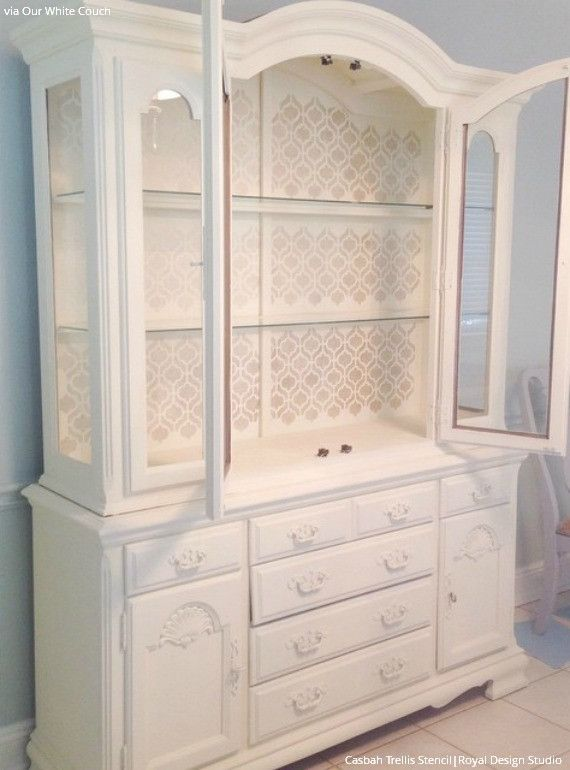 White Painted Cabinet with Casbah Trellis Moroccan Furniture Stencils for Painting Pattern - Royal Design Studio