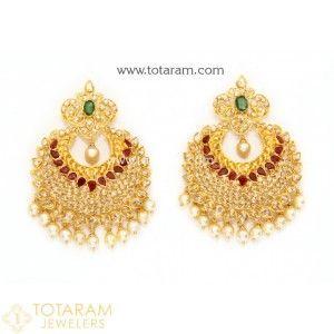 Uncut Diamond Hoop Earrings - Chandbalis in 22K Gold Indian Gold Jewelry in 22K Gold from Totaram Jewelers Online jewelry store