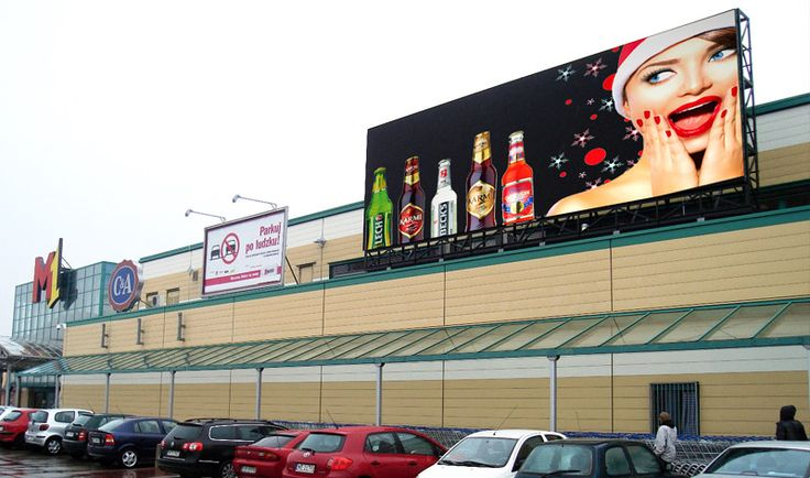 Lamp's L10DS led screens are installed in an outdoor parking lot of a shoppingmall in Poland, where there is a huge flow of people and a large volume of ads needs