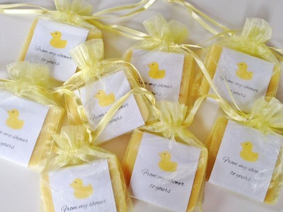 Baby Shower Favors Yellow ~ Yellow duck theme soap favors for baby shower with organza