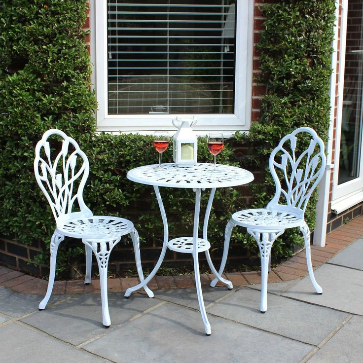This beautiful bistro set is made from cast aluminium and is weather resistant meaning it can be left outdoors all year round.The table features a floral pattern and comes complete with a table and two chairs. The table has a centre hole for an umbrella however an umbrella is not included. Table props are not included.The perfect garden furniture for your patio, lawn or conservatory. We have a bench to match if required.