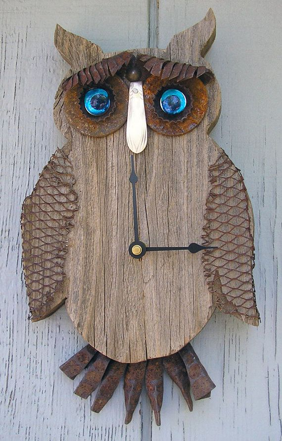 Blue Eyed Owl CLOCK Rustic Home Decor, Wall Clock, Birthday, Mother's Day, Father's Day, Industrial, Gifts, Etsygifts. Owls #841