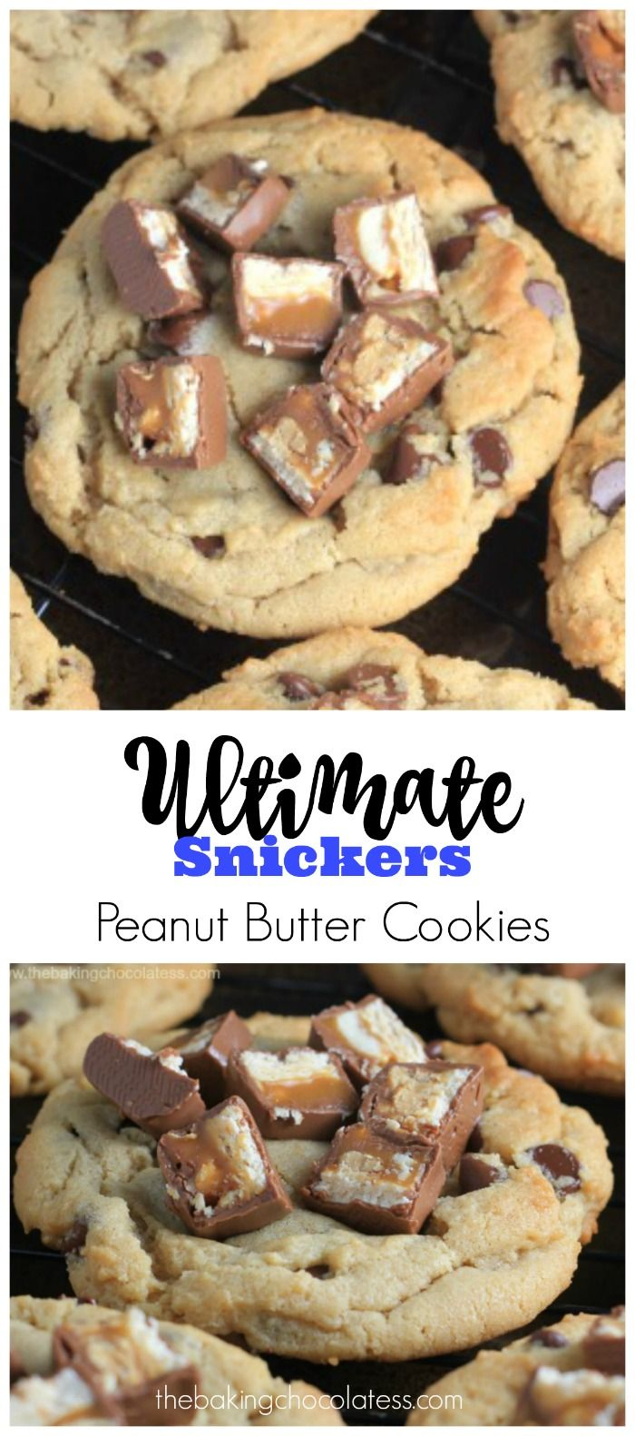 Ultimate Snickers Peanut Butter Cookies via @https://www.pinterest.com/BaknChocolaTess/