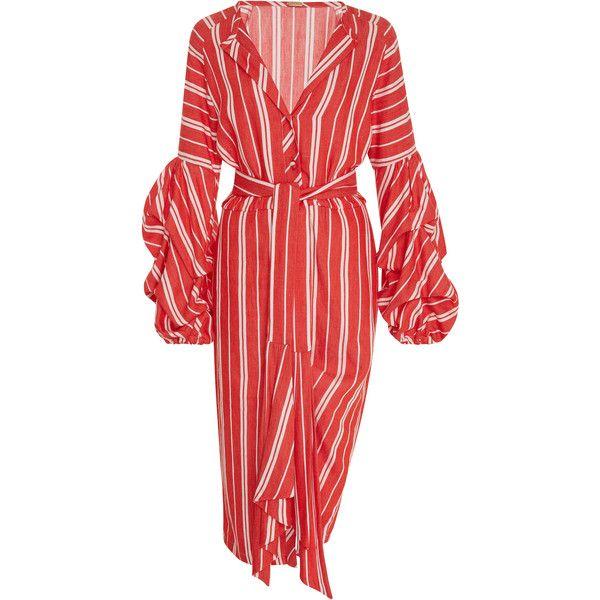 Johanna Ortiz Santa Fe Linen Dress (11135 MAD) ❤ liked on Polyvore featuring dresses, stripe, red dress, striped dress, red striped dress, stripe dresses and linen dresses