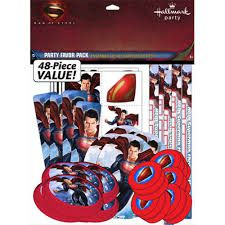 Superman Value Favor Pack (a value pack good for 8 kids; includes 8 pcs of each item: yoyos, jumbo stickers, activity sheets,flying discs, bookmarks, and temporary tattoos)