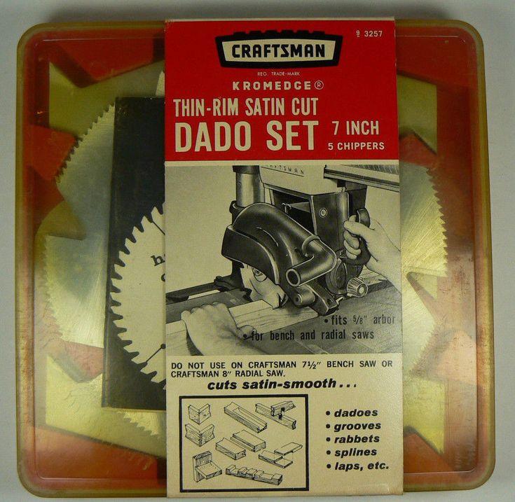"Sears Craftsman 7"" KromEdge Thin Rim Satin Cut DADO Saw Blade Set IOB 9-3257 #Craftsman"