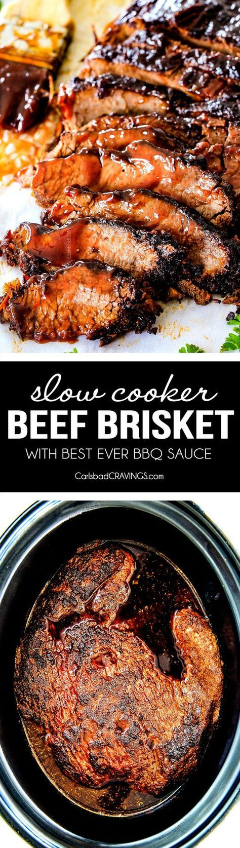 """Wonderfully juicy, flavor exploding, melt-in-your-mouth Slow Cooker Beef Brisket is my favorite meat dish EVER and """"better than any restaurant"""" according to my food critic husband! It's the ultimate easy company dinner because it can be made days in advance then reheated in the slow cooker for stress free entertaining!"""