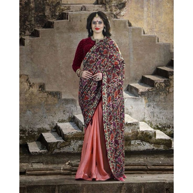 Pink and Cream Silk Party Wear #Saree With Blouse- $157.38