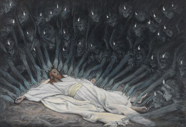 """James Tissot, Christ Ministered To By Angels French, 1884-1892; New York, Brooklyn Museum.  Zechariah 1:10 - And the man that stood among the myrtle trees answered and said, These are they whom the LORD hath sent to walk to and fro through the earth. King James Bible """"Authorized Version"""", Cambridge Edition"""