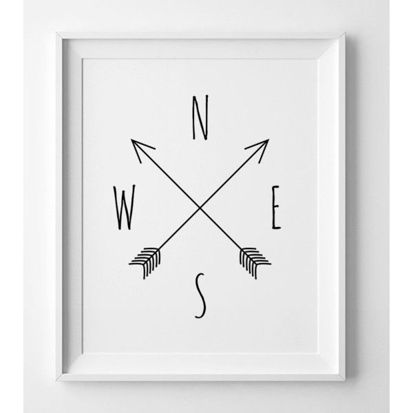 Printable art, Compass, cardinal directions, North, South, West, East,... (4.11 AUD) ❤ liked on Polyvore featuring home, home decor, wall art, minimalist wall art, printable compass, minimalist home decor, autumn home decor and fall home decor