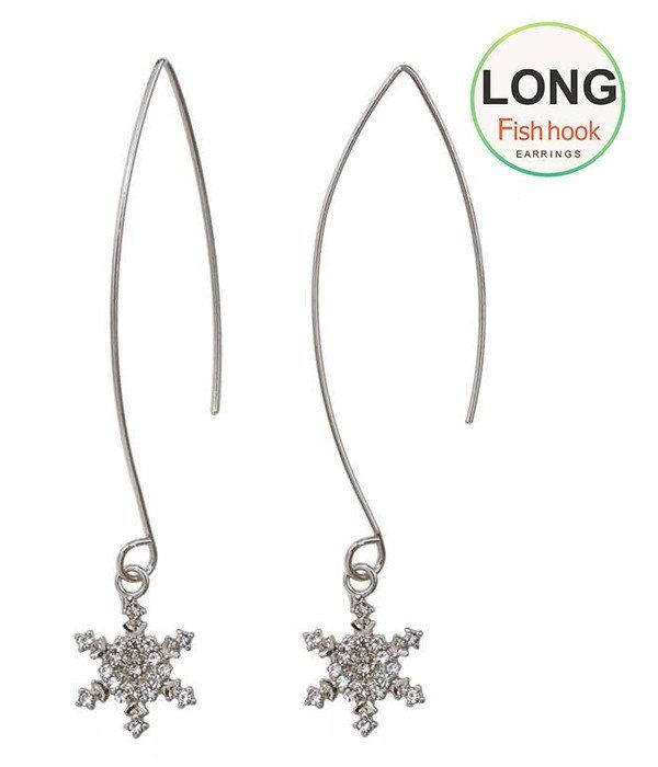 Crystal Snowflake long fish hook Earrings