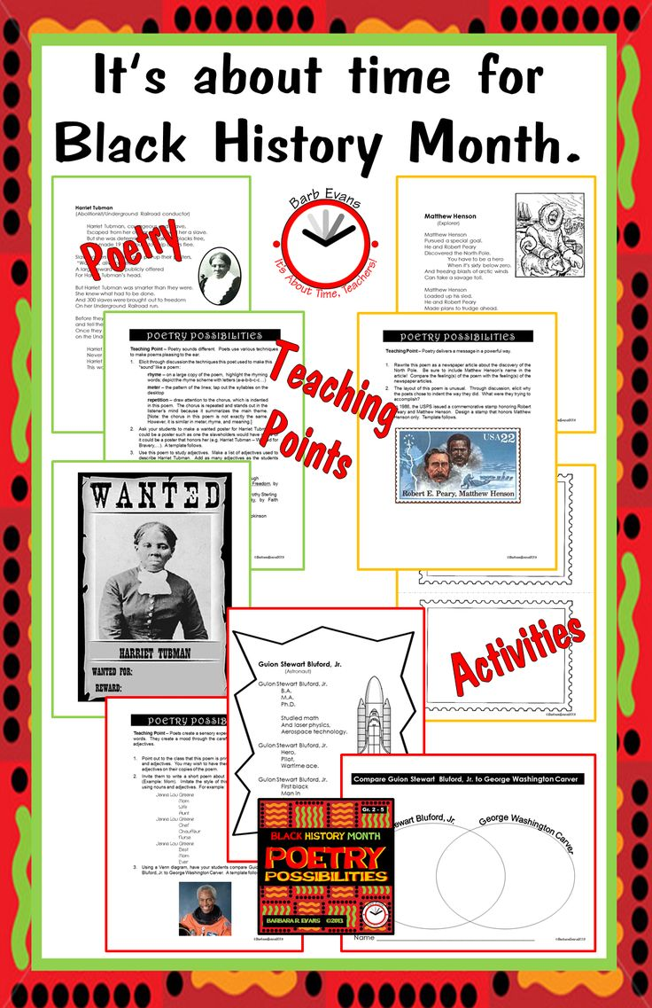 Poetry Possibilities for Black History Month.  Poems, teaching points, & activities for the whole month.