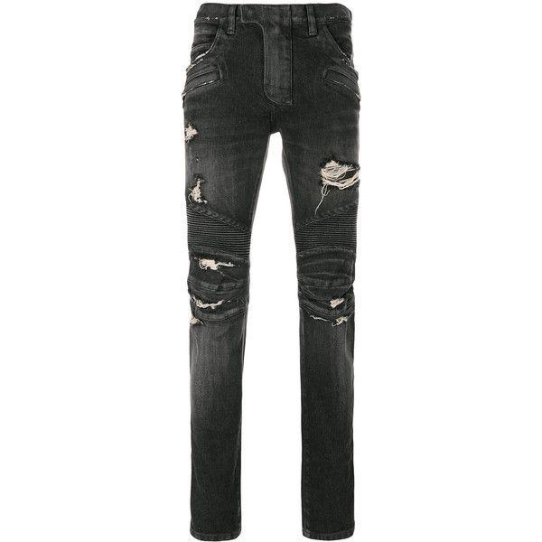 Balmain distressed biker jeans (25.785 CZK) ❤ liked on Polyvore featuring men's fashion, men's clothing, men's jeans, black, mens super skinny jeans, mens slim jeans, mens torn jeans, mens distressed skinny jeans and mens distressed jeans