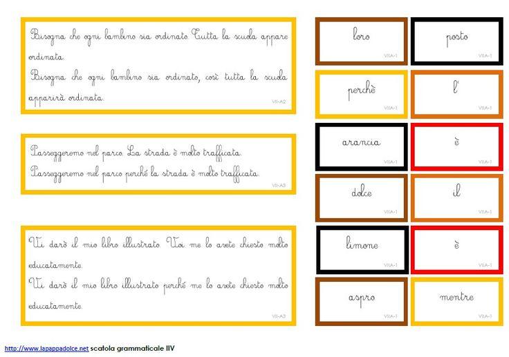 Cartellini scatola grammaticale VII - CORSIVO 39