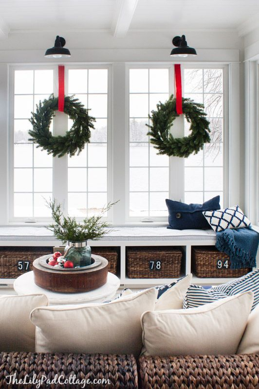 Classic Christmas Tour - The Lilypad Cottage  Love the wreaths in the window!: