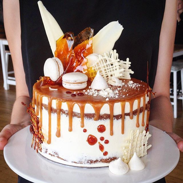Caramel mud cake with salted caramel, smbc and ALL the extras.