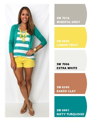 ‿✿⁀ Bright yellow shorts, teal & white striped shirt, and teal cardigan ‿✿⁀ ColorSnap by CNH