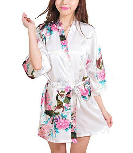Women Short Kimono Robes Bridesmaid Peacock and Blossoms Stain Silk Nightwear White Our robe is exquisite workmanship,sleeve is connection neatly loose and comfortable, and the sewing inside is following straight line. The corner of robe cut individually, to make sure it straight.  In order to insure the robe beauty, please wash it carefully by hand and dry-clean is not available.Material: Thin satin silk (silky smooth, light and sleek fabric to accentuate curves)Colors:Blac