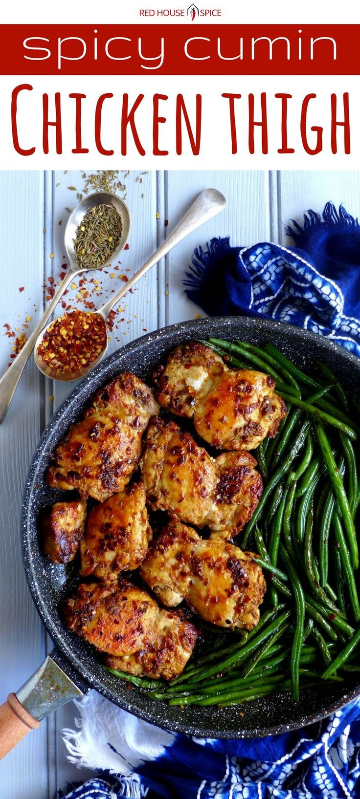Quick to cook and difficult to fail, spicy cumin chicken thighs with green beans is inspired by a popular Chinese street food. An easy pan-fried dish full of flavour. via @redhousespice