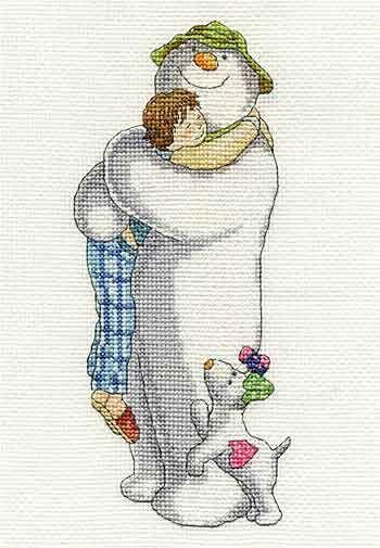 Group Hug - The Snowman and the Snow Dog Cross Stitch Kit by DMC