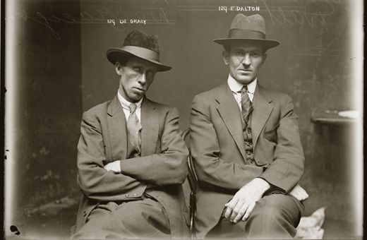 'City of shadows: inner-city crime & mayhem 1912-1948' exhibition returns to the Justice & Police Museum in June 2013, running until 30 June 2014, with new and updated images and stories about some of our most intriguing photographs. Saturdays and Sundays only, 10am - 5pm. Image: Mug shot of De Gracy [sic] and Edward Dalton. Details unknown. Central Police Station, Sydney, c.1920. NSW Police Forensic Photography Archive, Justice and Police Museum, Sydney Living Museums.