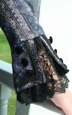 """Detail work on cuff"" It's stuff like this that I need to pay attention to. My own personal style is so un-embellished, but it really does help make a costume pop..."